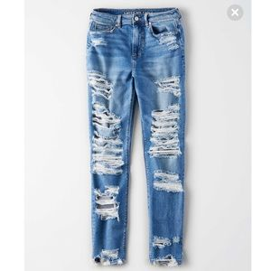 American Eagle 🦅 Stretch Mom Jeans Destroyed 20